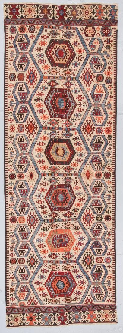 Antique Turkish Kilim: 3'9'' x 10'7''