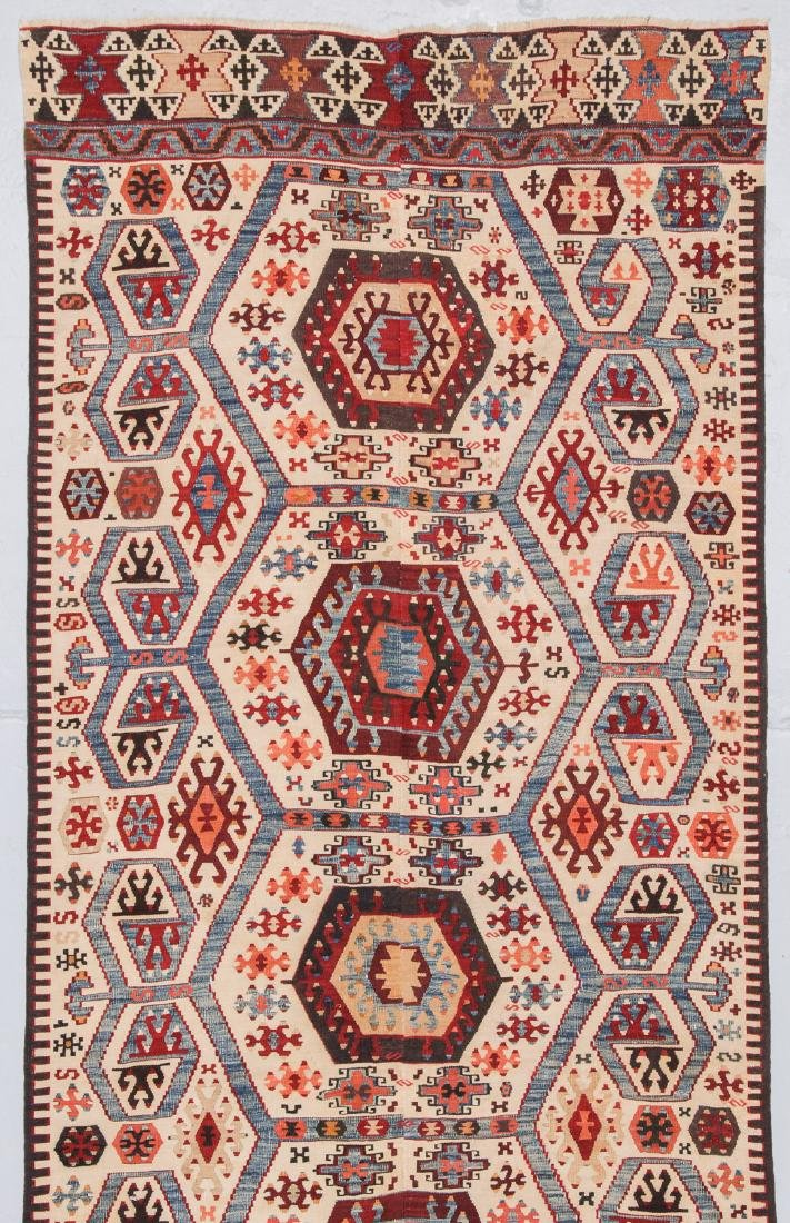 Antique Turkish Kilim: 3'9'' x 10'7'' - 2