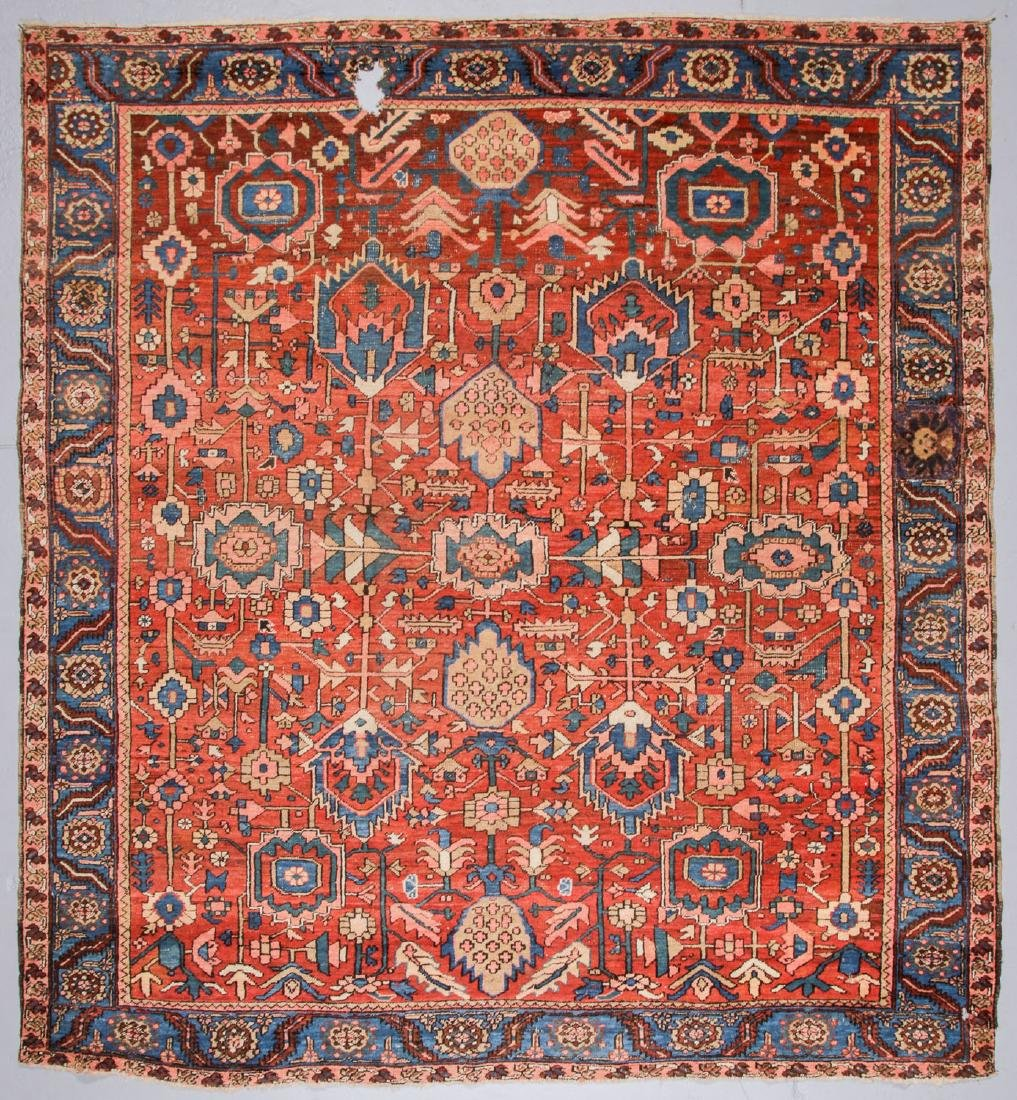 Antique Heriz Rug, Persia: 10'1'' x 11'