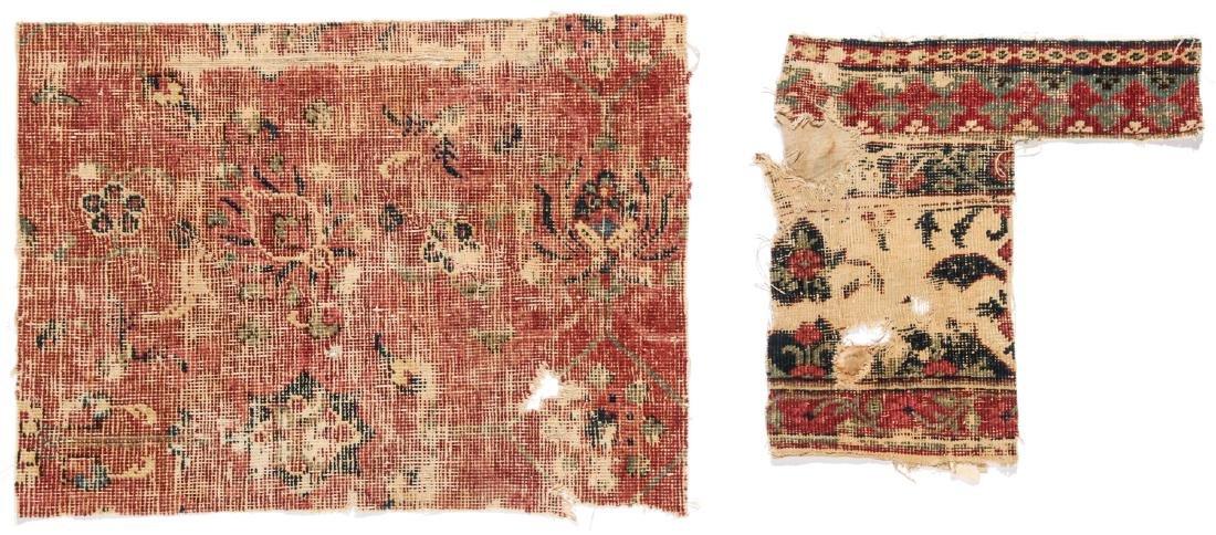 Pre Circa 1800 Persian or Mughal Carpet Fragments (7) - 2