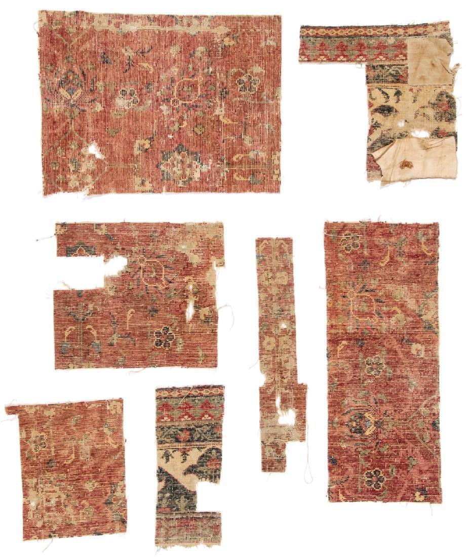 Pre Circa 1800 Persian or Mughal Carpet Fragments (7) - 5