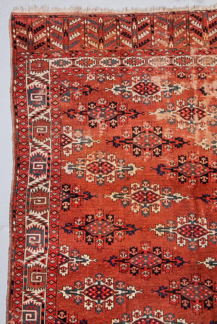 Antique Yomud Main Rug, Turkestan: 6'6'' x 10'4'' - 3
