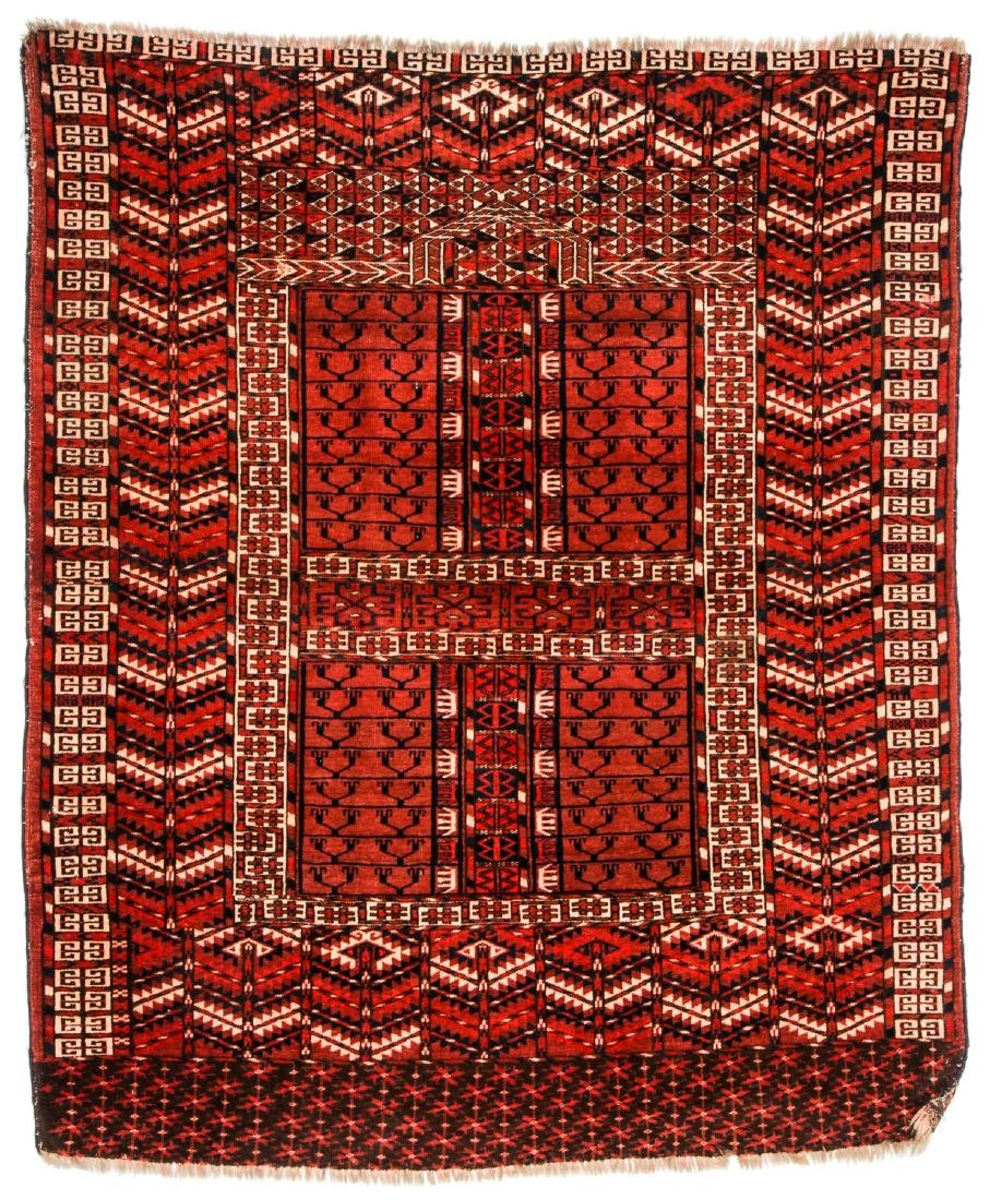 Antique Central Asian Turkmen Ensi Rug: 4'1'' x 4'11''