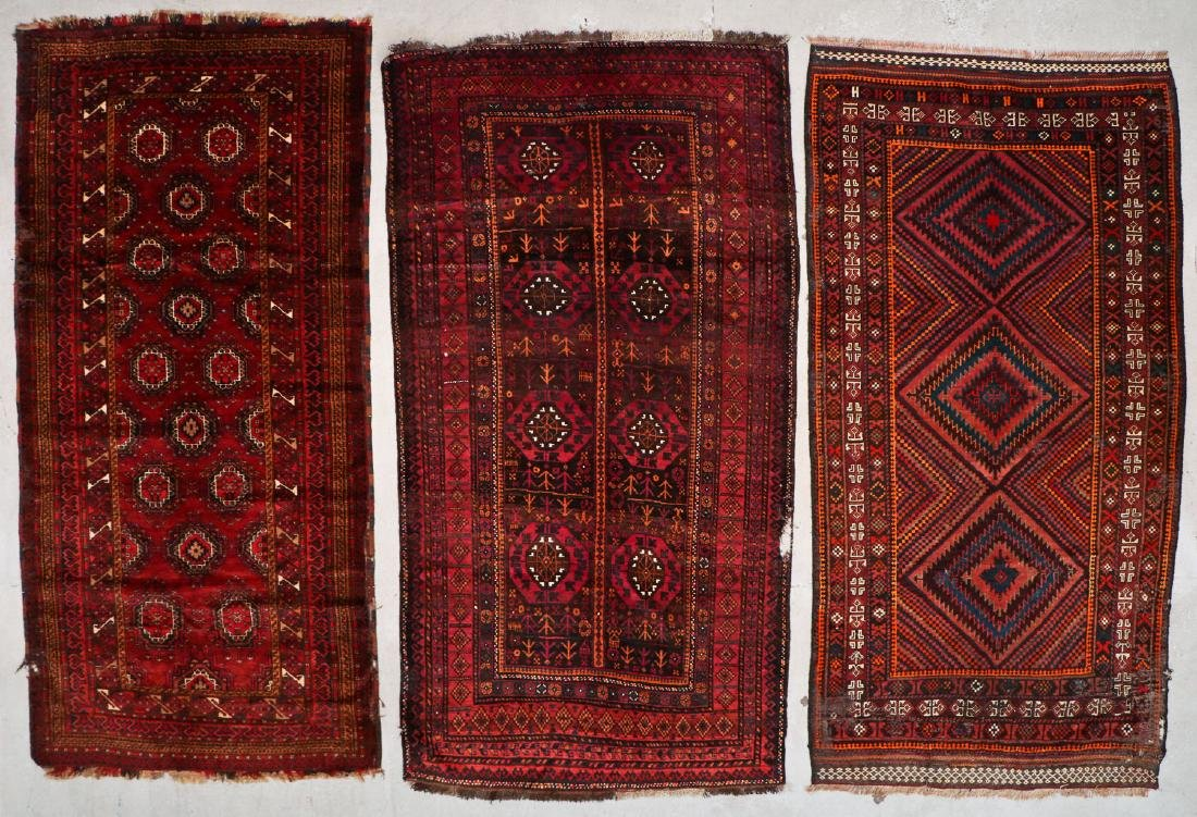 3 Semi-Antique Afghan Beluch Rugs, Early 20th C