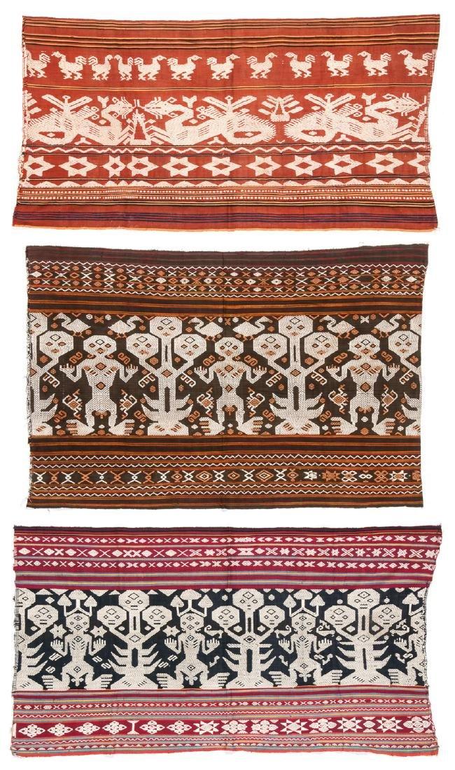 3 Lau Sarong Panels, East Sumba, Indonesia, Mid 20th C.