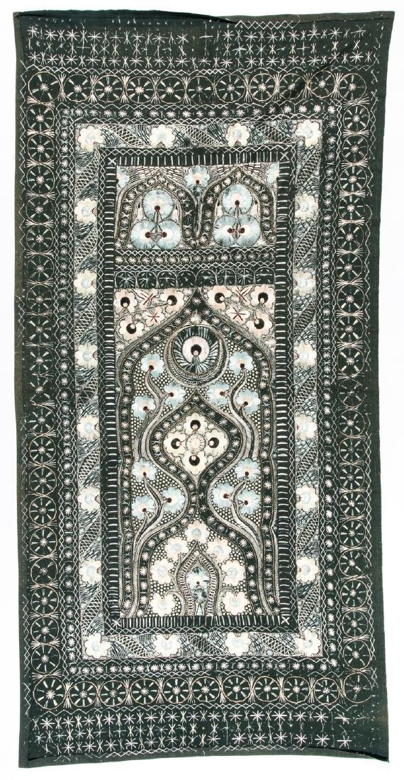 Antique Persian Silk and Wool Felt Prayer Panel