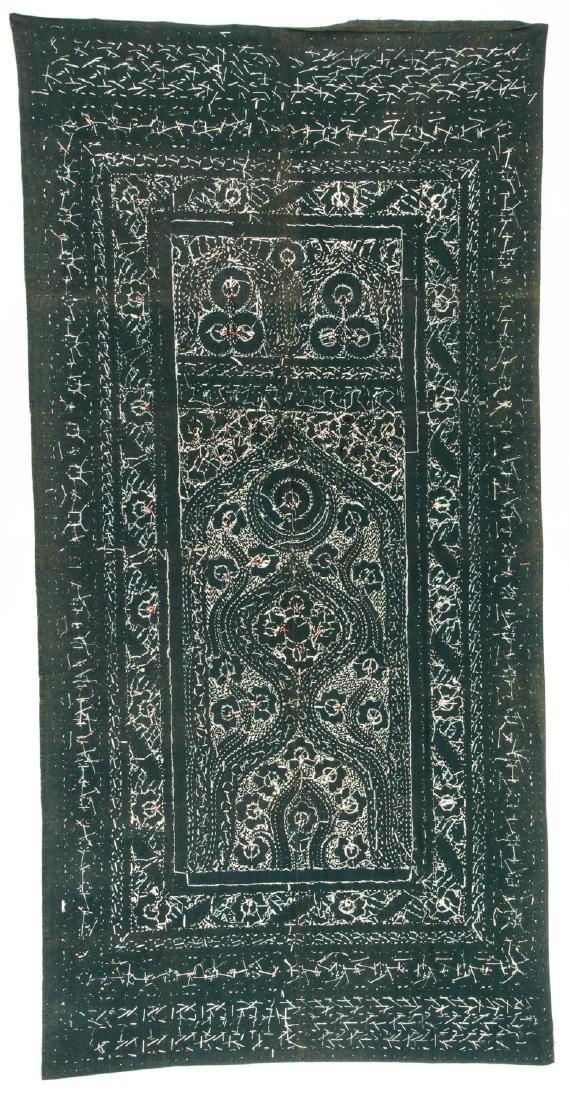 Antique Persian Silk and Wool Felt Prayer Panel - 4