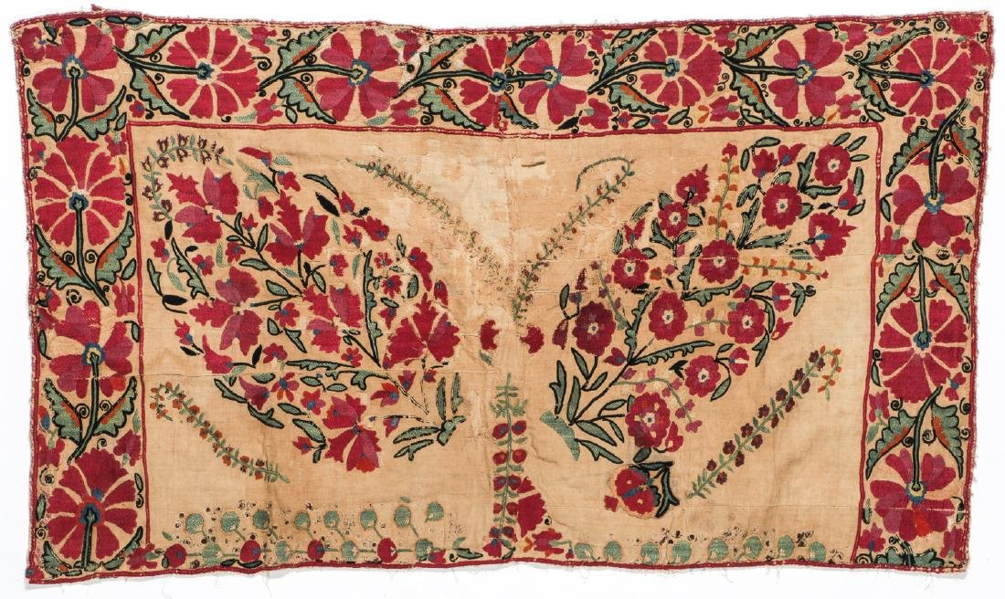 18th C. Central Asian Suzani Fragment: 27'' x 47''