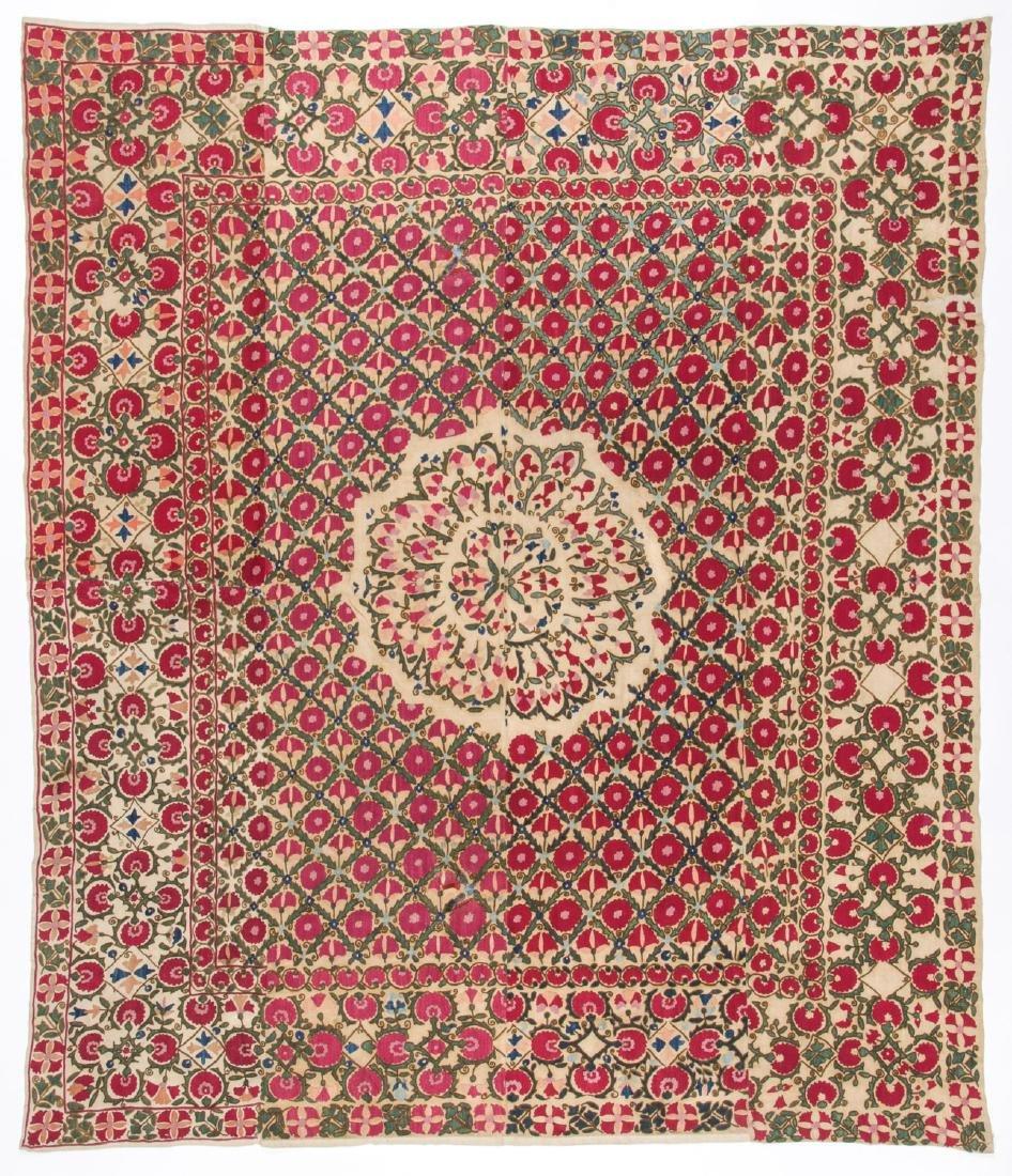 Fine 19th C. Samarkand Ura Tube Suzani: 85'' x 74''