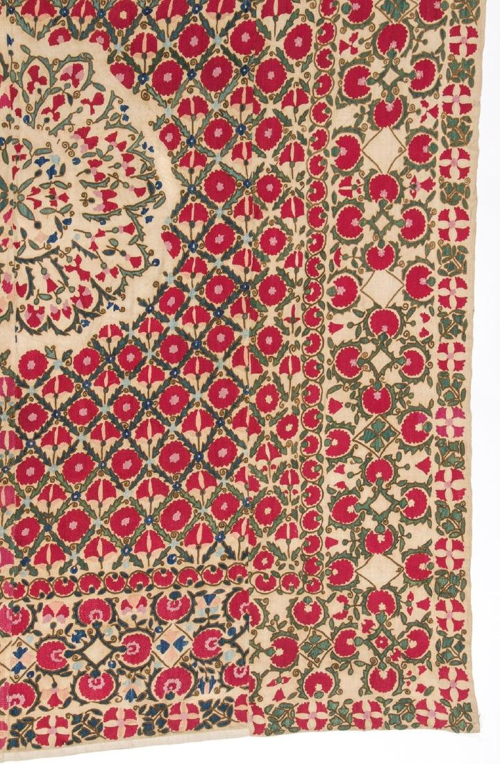 Fine 19th C. Samarkand Ura Tube Suzani: 85'' x 74'' - 2