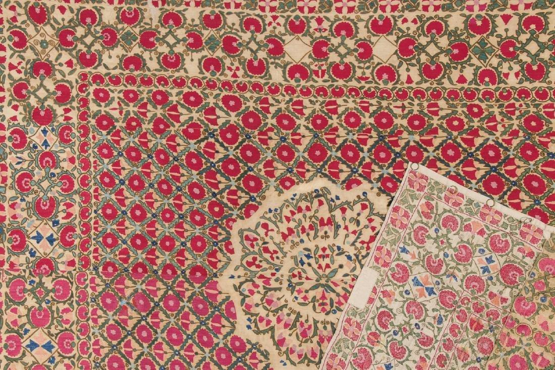 Fine 19th C. Samarkand Ura Tube Suzani: 85'' x 74'' - 3