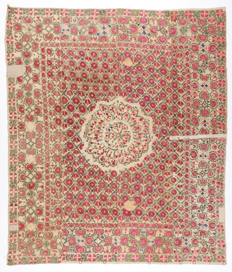 Fine 19th C. Samarkand Ura Tube Suzani: 85'' x 74'' - 4