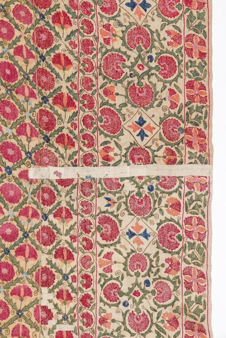 Fine 19th C. Samarkand Ura Tube Suzani: 85'' x 74'' - 5