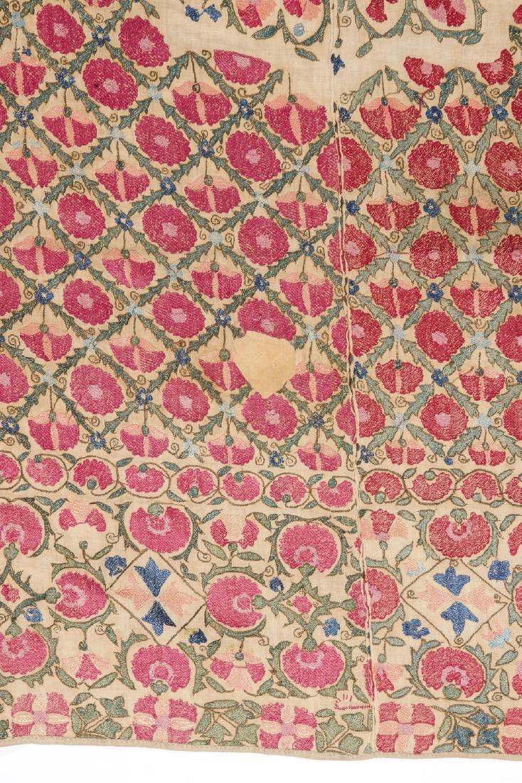 Fine 19th C. Samarkand Ura Tube Suzani: 85'' x 74'' - 6