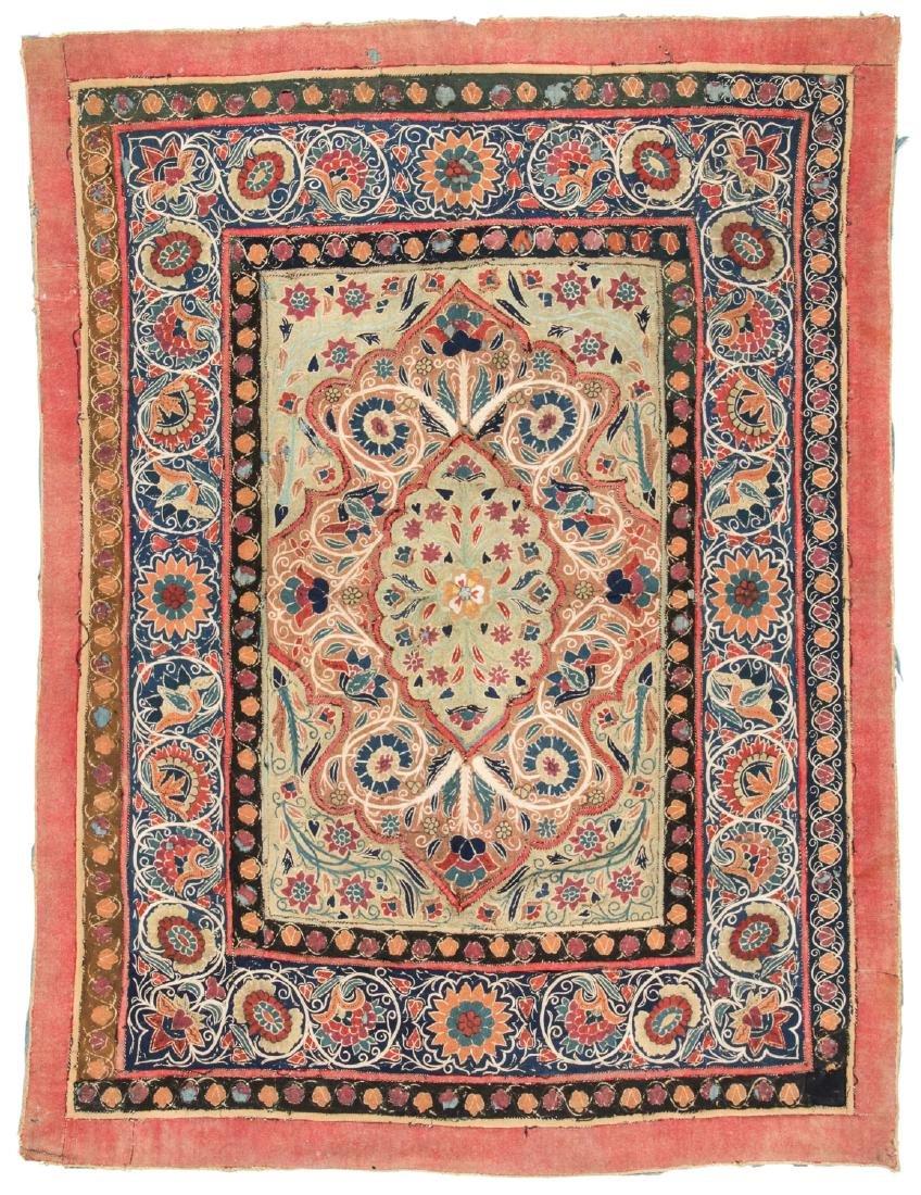 18th C. Persian Resht Embroidery: 66'' x 49''