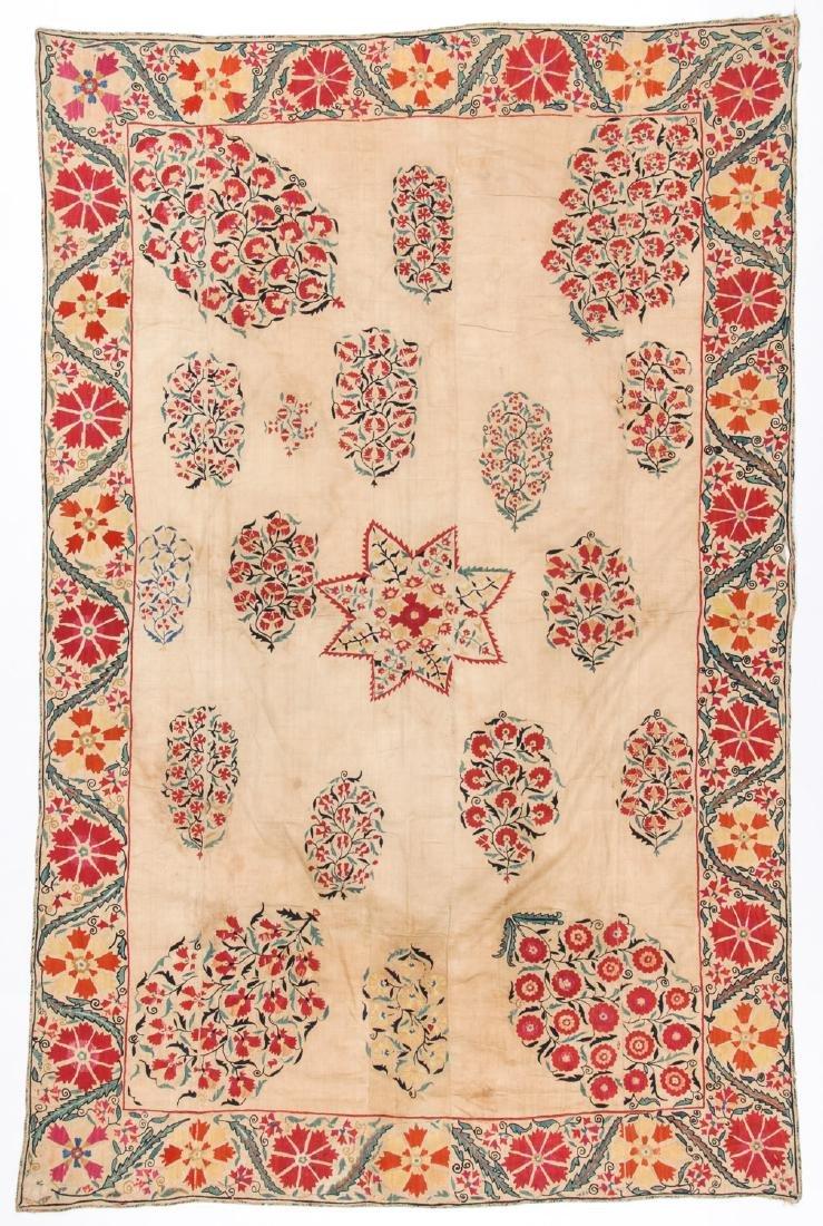 Fine Antique Central Asian Nurata Suzani: 93'' x 60''
