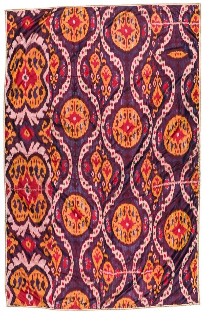 Antique Uzbek Silk Ikat: 88'' x 57'