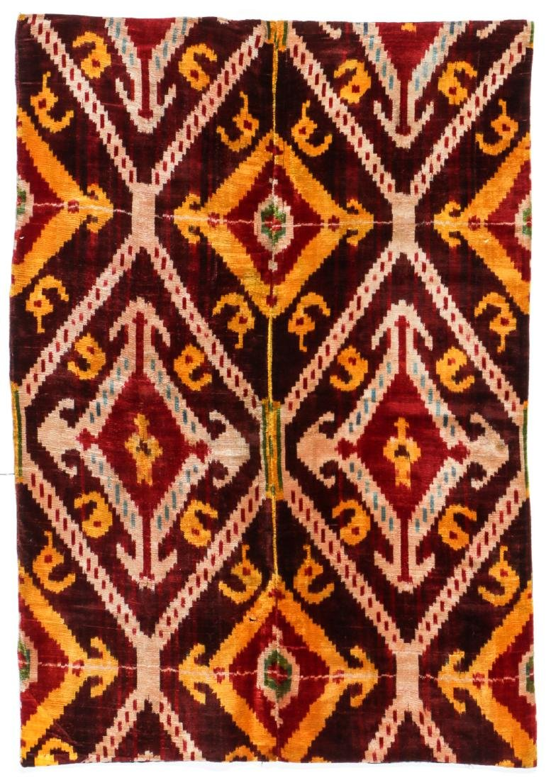 Antique Uzbek Velvet Ikat Panel