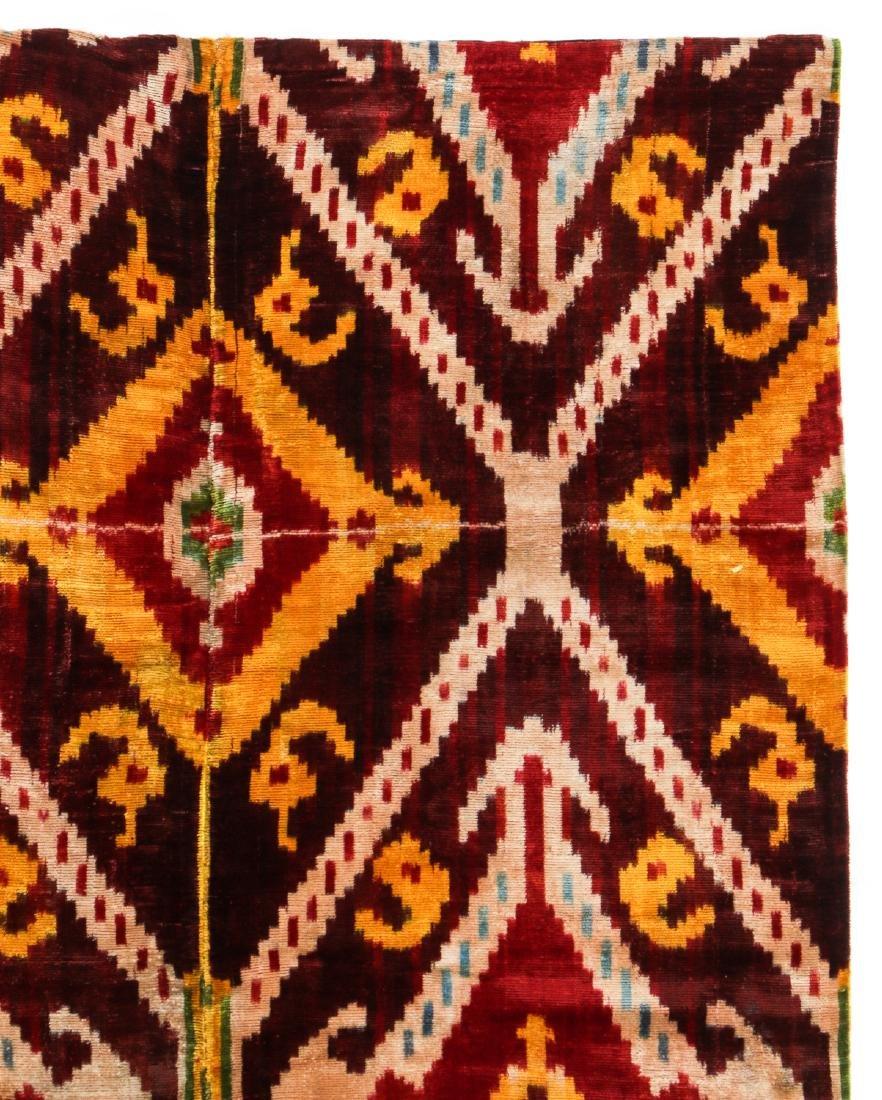 Antique Uzbek Velvet Ikat Panel - 2