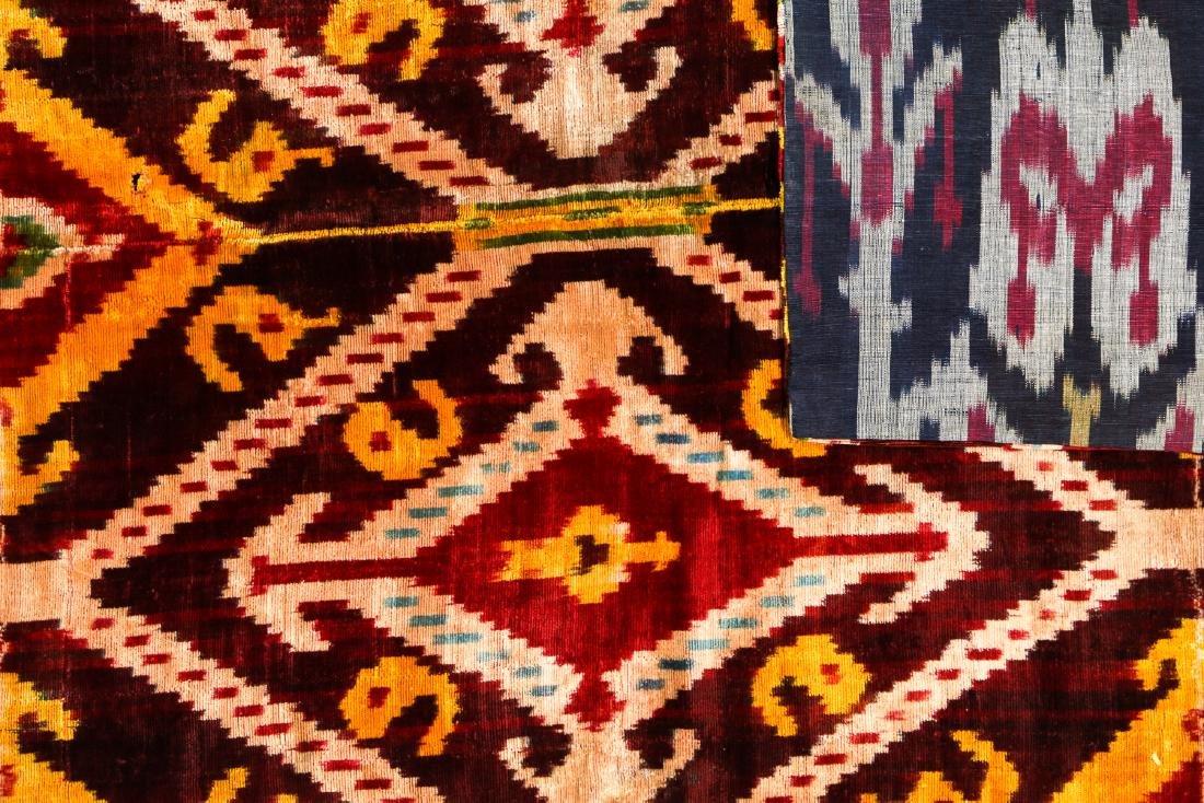 Antique Uzbek Velvet Ikat Panel - 3