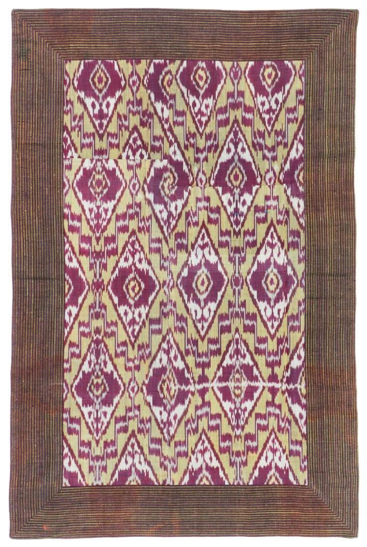 19th C. Central Asian Silk Adras Ikat Panel, Bukhara