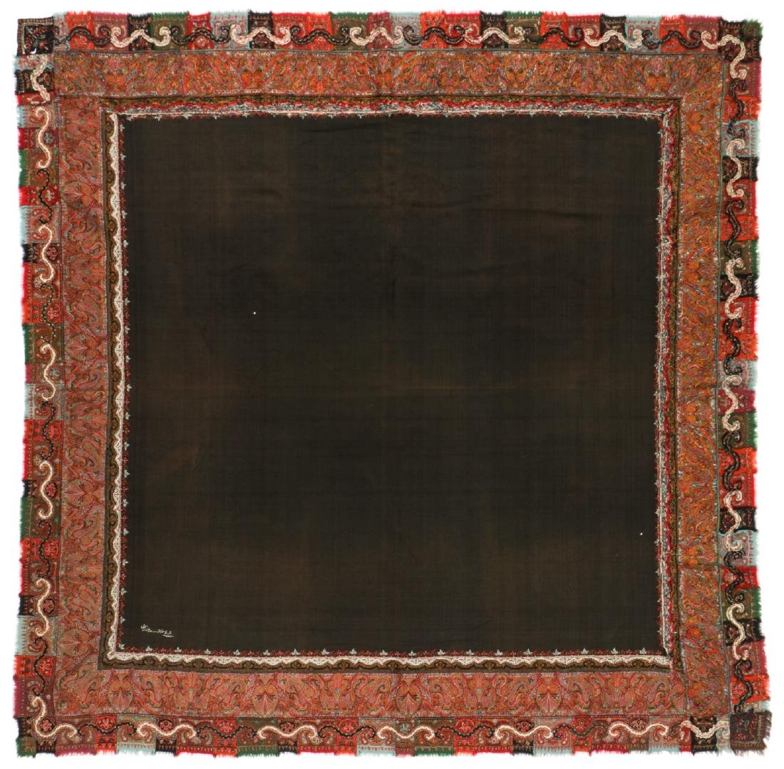 Antique Kashmir Foldover Shawl, India