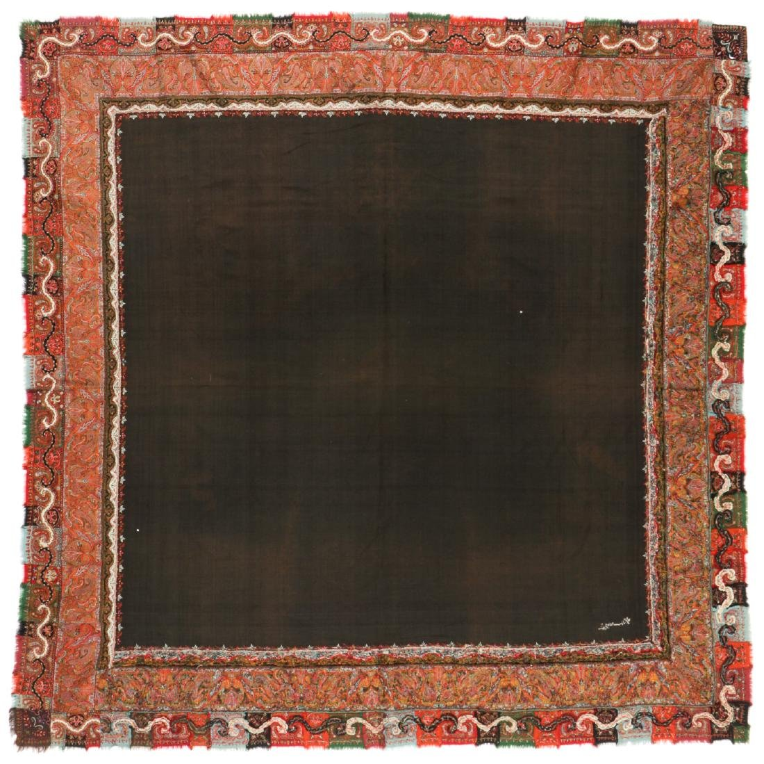 Antique Kashmir Foldover Shawl, India - 5