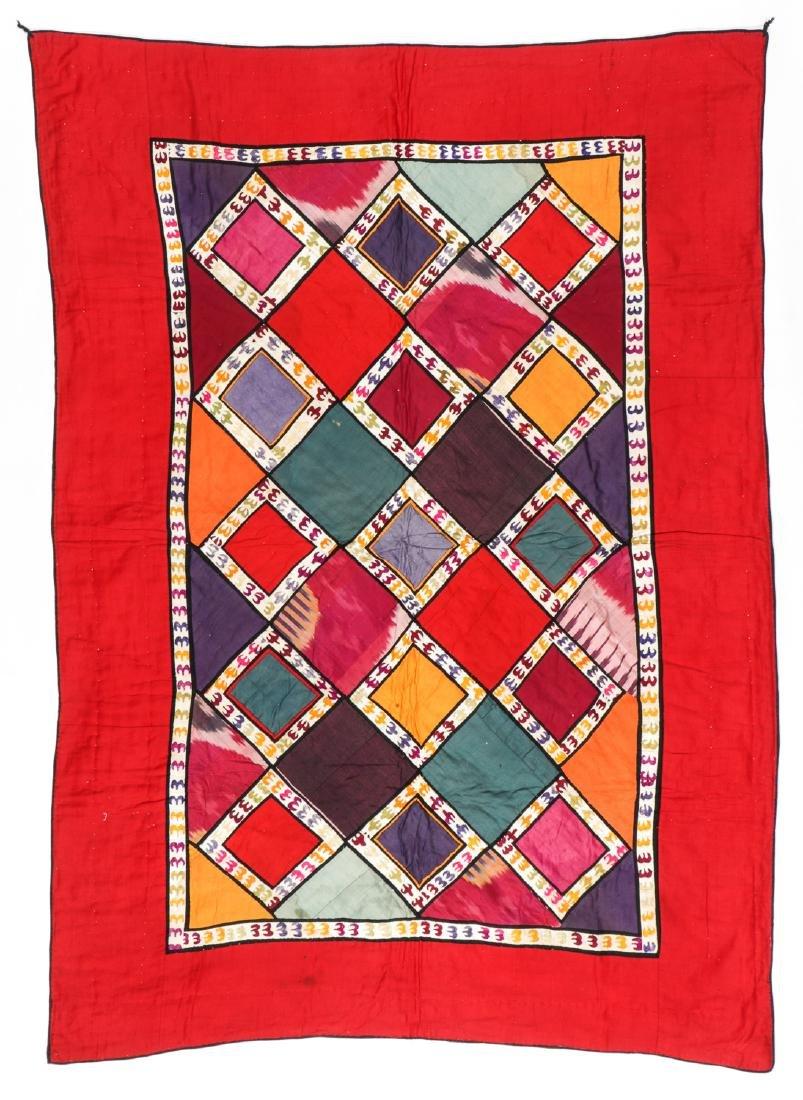 Antique Central Asian Bokhara Applique Quilt