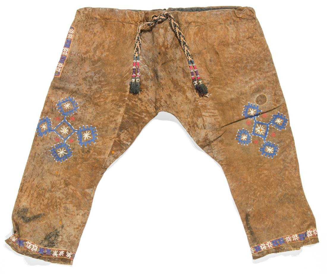 Pair of Antique Central Asian Kirghiz Men's Leather