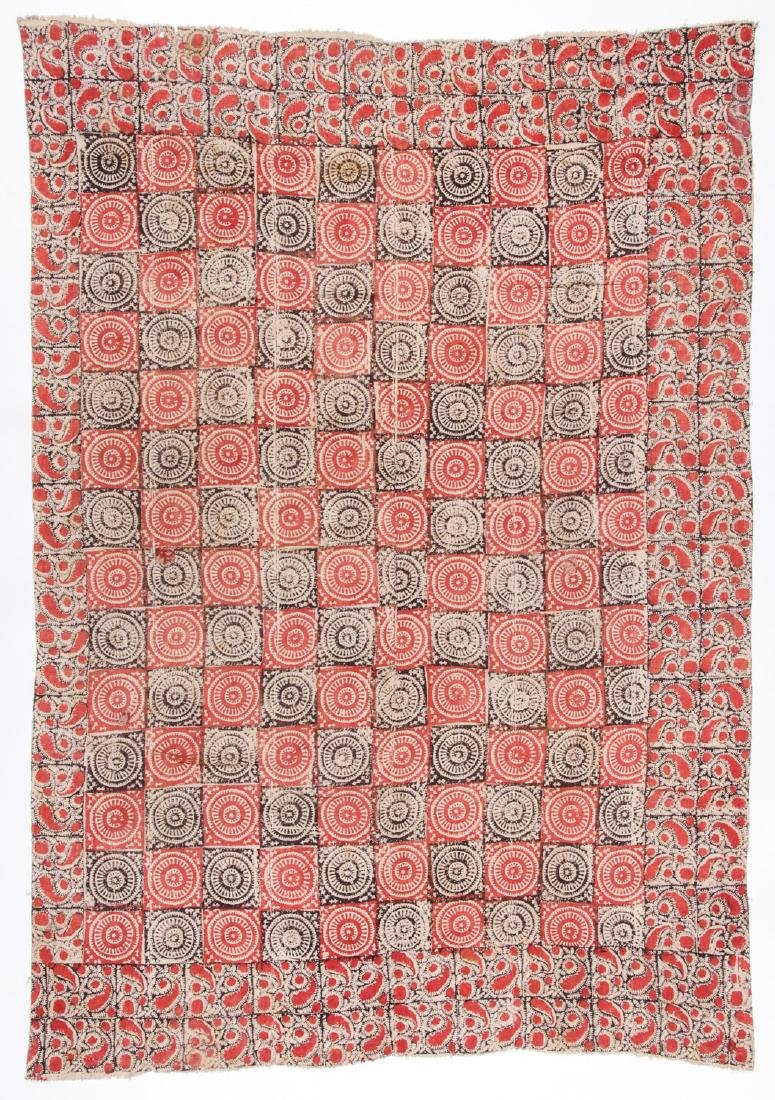 19th C. Central Asian Bokhara Blockprint Cloth: 96'' x