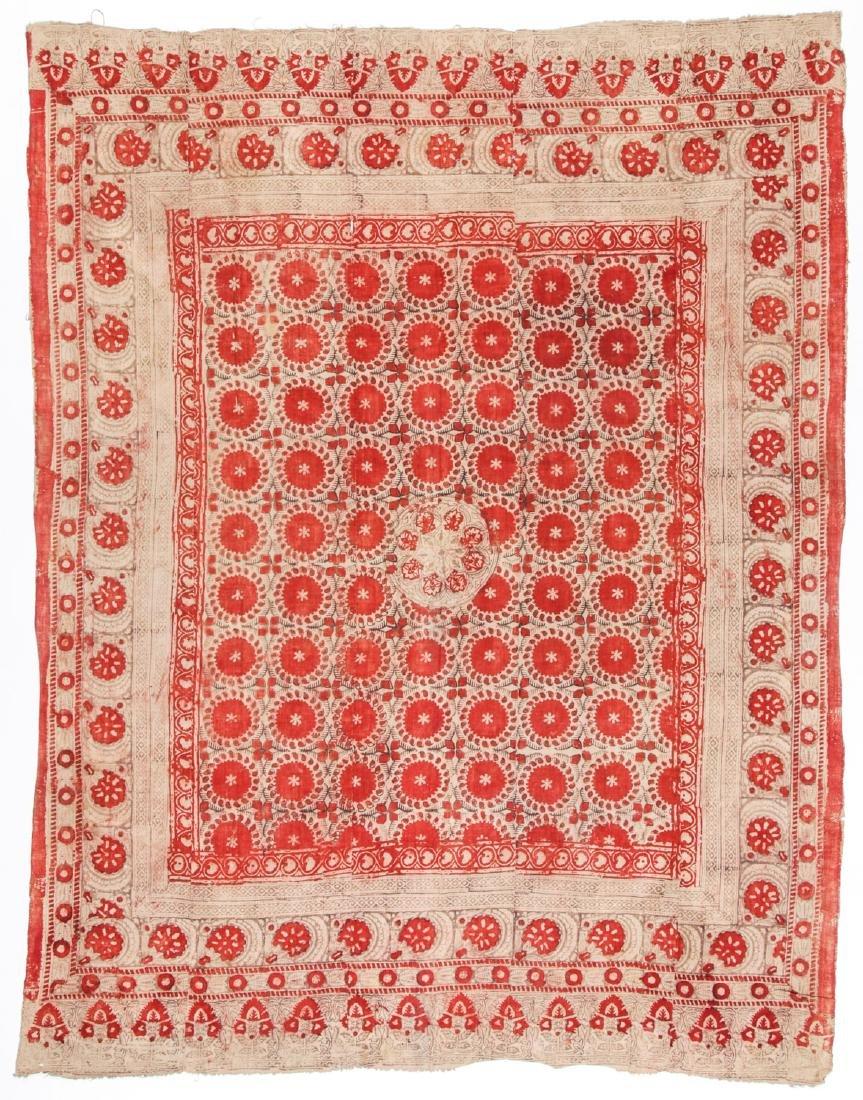 19th C. Central Asian Bokhara Blockprint Cloth: 92'' x