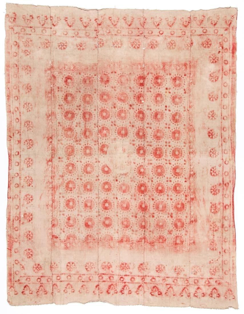 19th C. Central Asian Bokhara Blockprint Cloth: 92'' x - 4