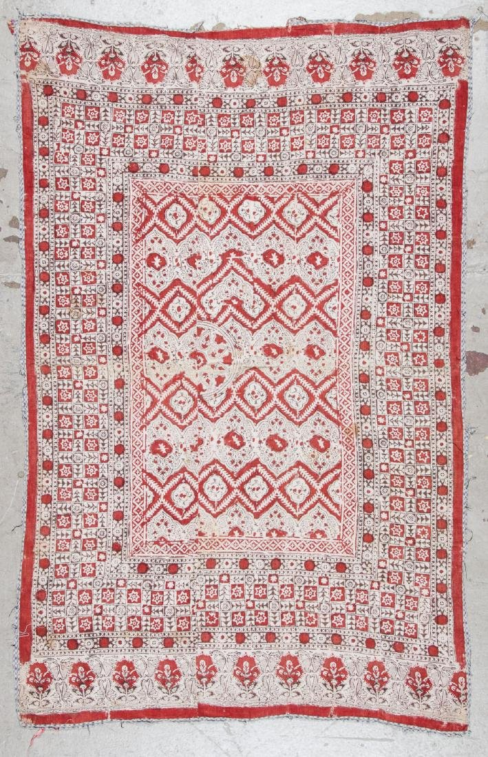 Antique Central Asian Block Print Textile, Bokhara