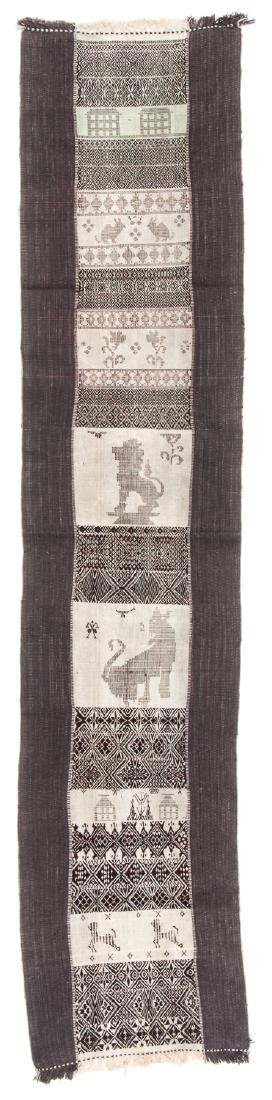 Woman's Pictorial Shoulder Cloth, Chin People, Myanmar