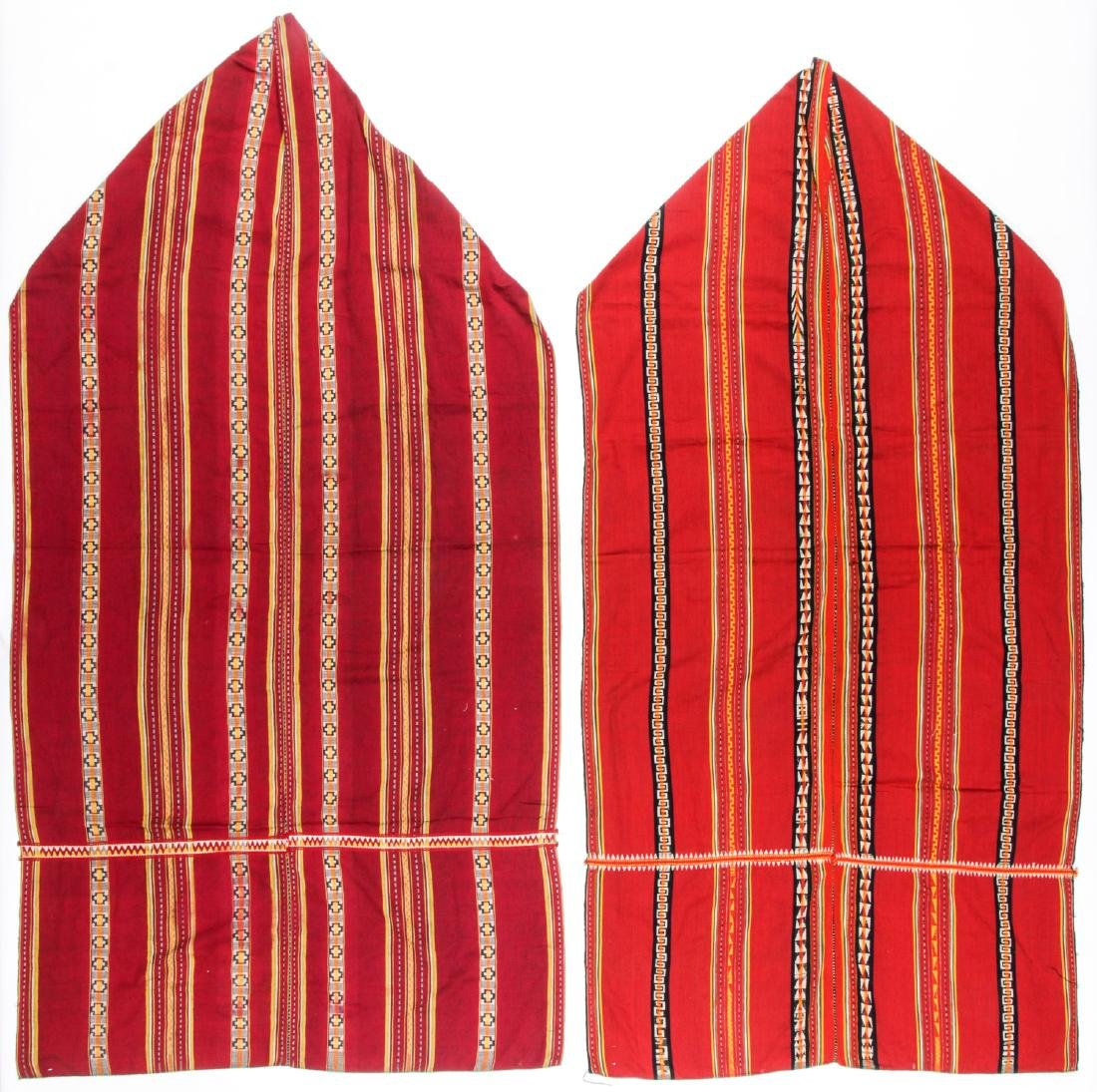 Pair of Long Woven Striped Textiles, Katu People, Laos