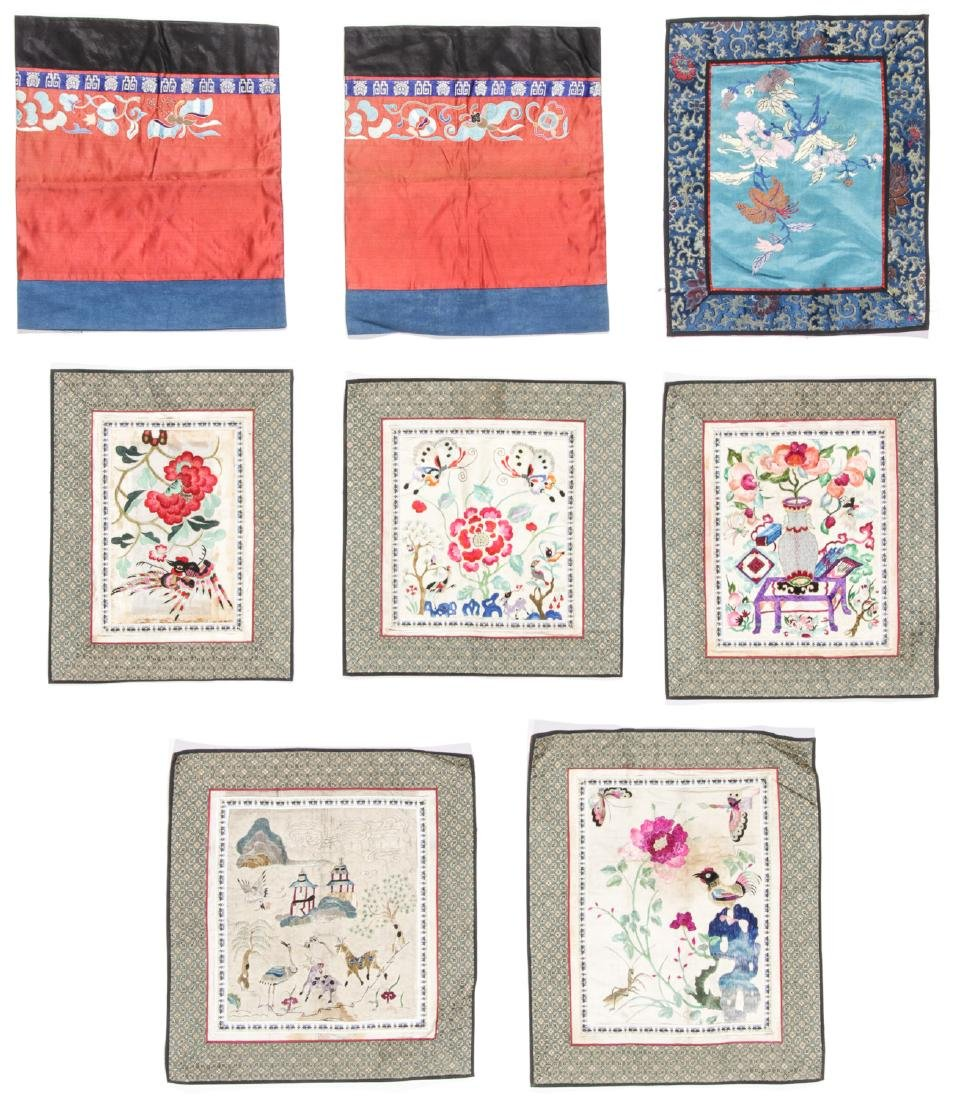 Group of 8 Old Chinese Silk Embroideries