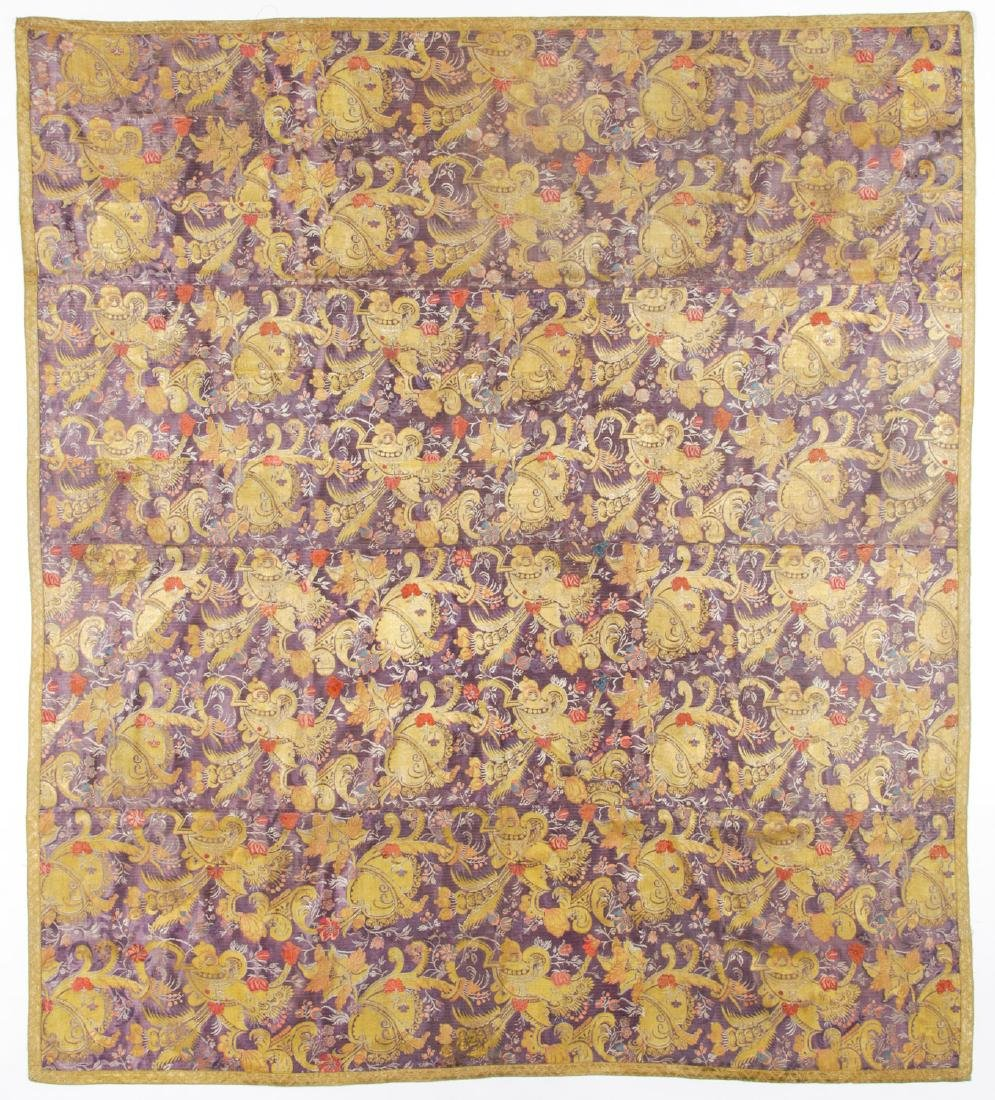 18th C. Persian Silk Brocade in Continental Style: 77''