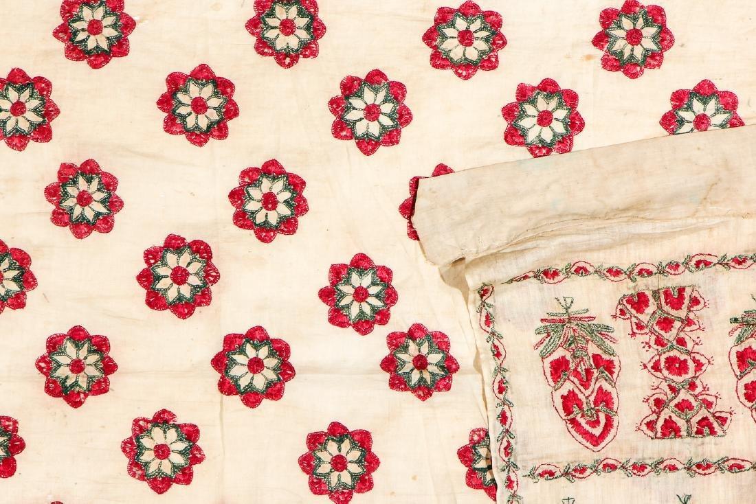 Antique Silk Embroidered Textile Panel, Pakistan - 3