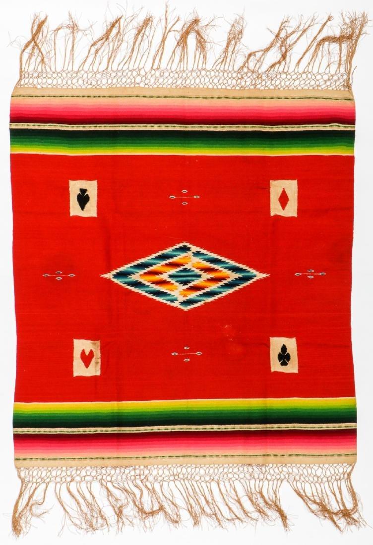 Fine Poker Table Saltillo Serape, Mexico, Early 20th c.