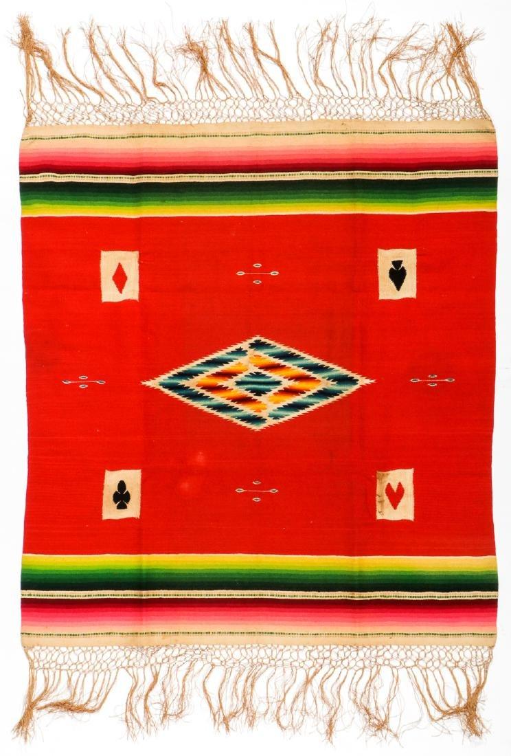 Fine Poker Table Saltillo Serape, Mexico, Early 20th c. - 3