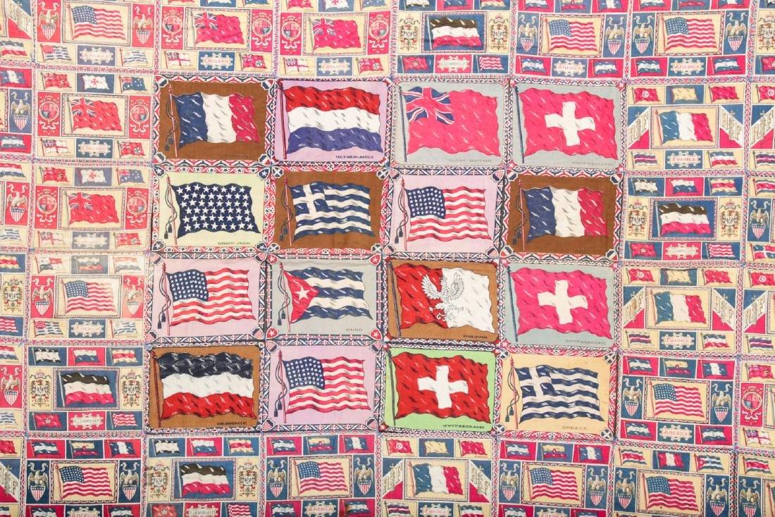 Antique American Cigar-Felt Quilt, International Flags - 2