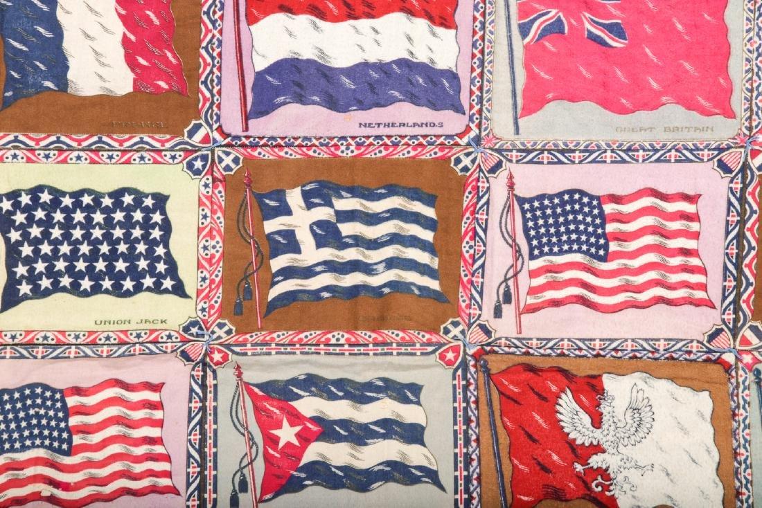 Antique American Cigar-Felt Quilt, International Flags - 3