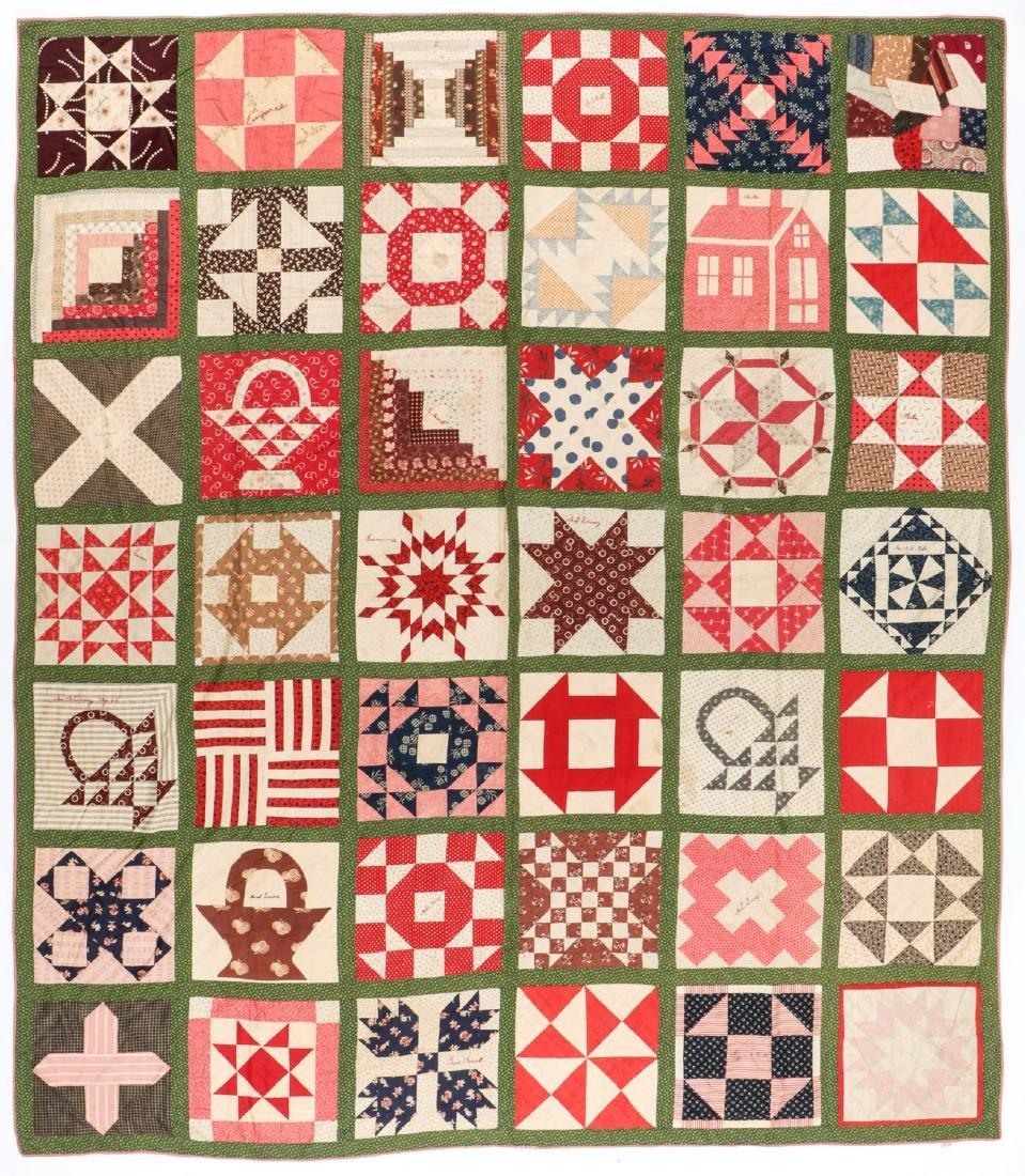 Fine Antique American Friendship Quilt: 102'' x 88''