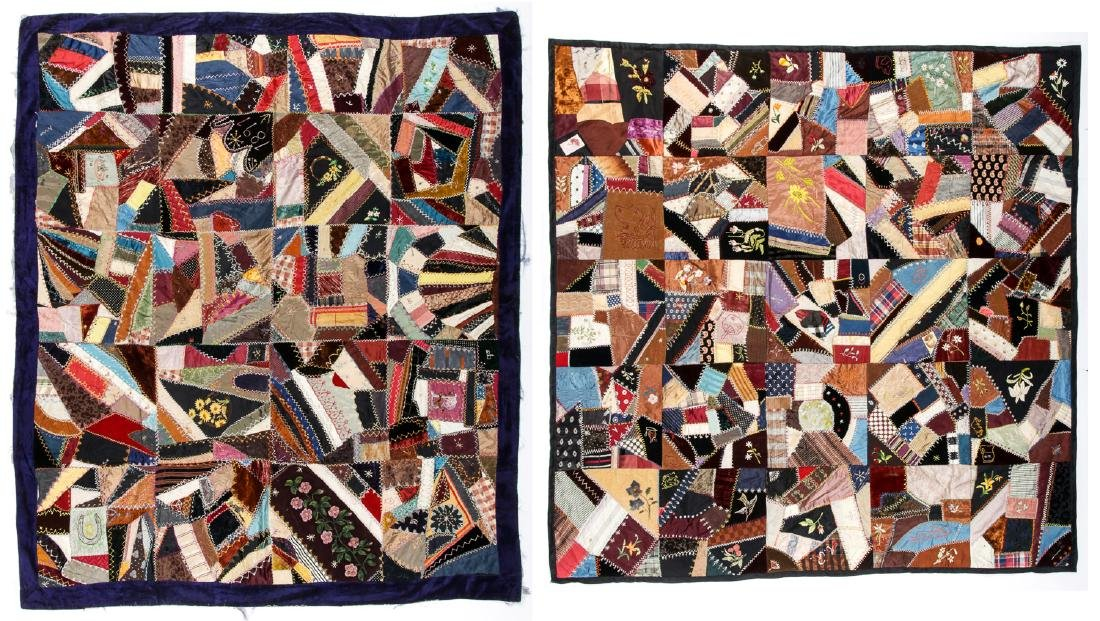 2 Antique American Crazy Quilts
