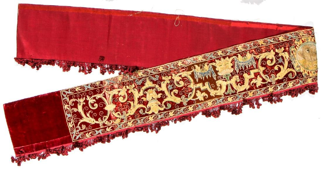 17th C. Valance, Ropes & Velvet Wall Hung Pouch - 5