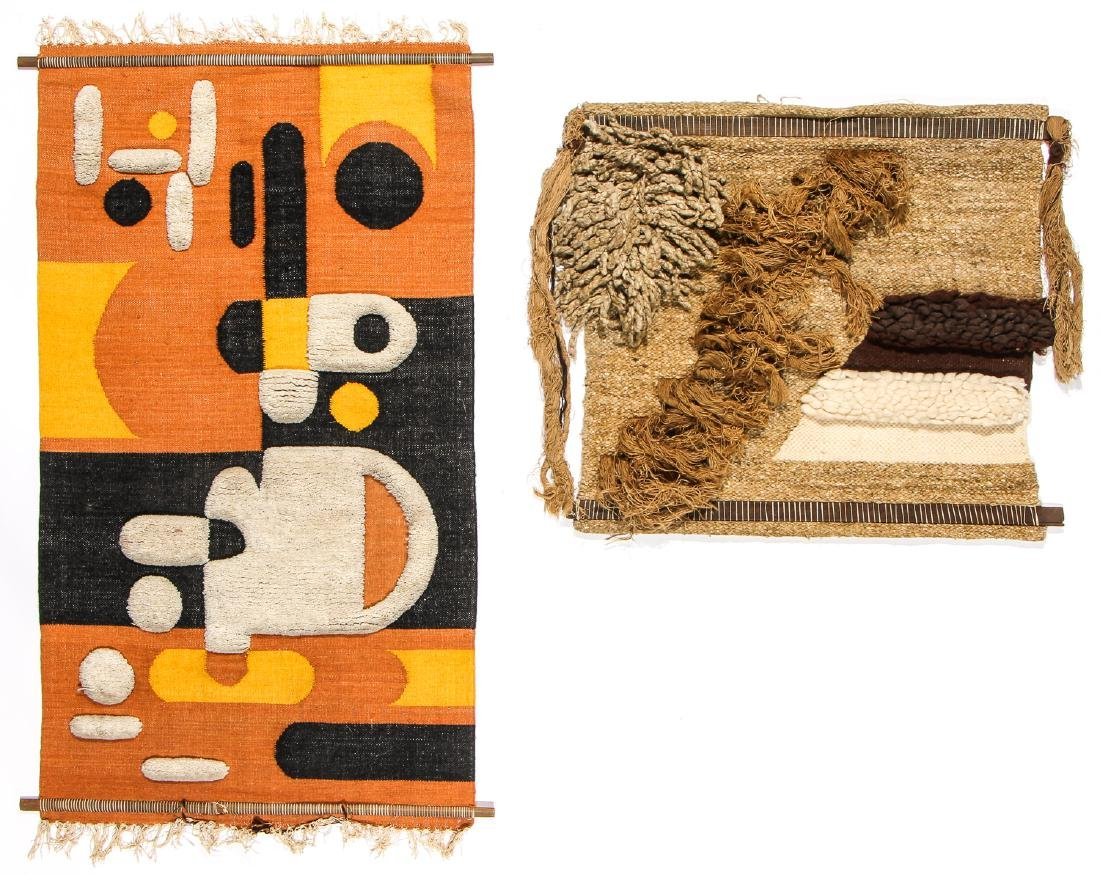 2 Mid 20th C. Century Woven Textile Wall Hangings