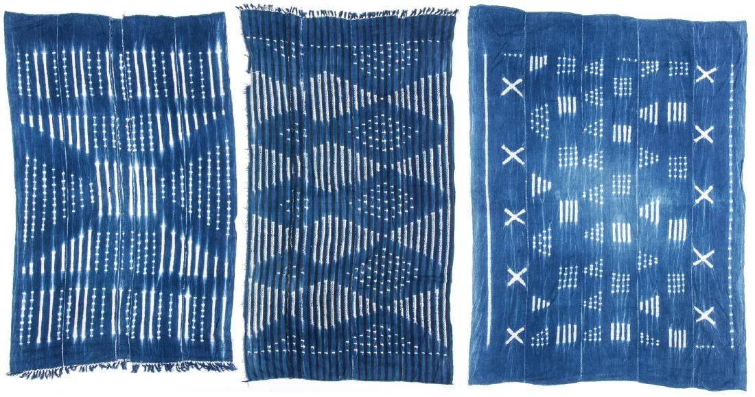 3 Vintage West African Indigo Cloths