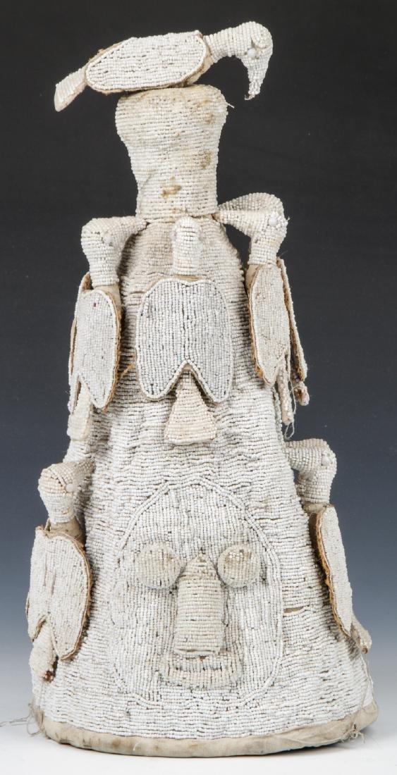 African Yoruba Beaded Crown, Mid 20th C.