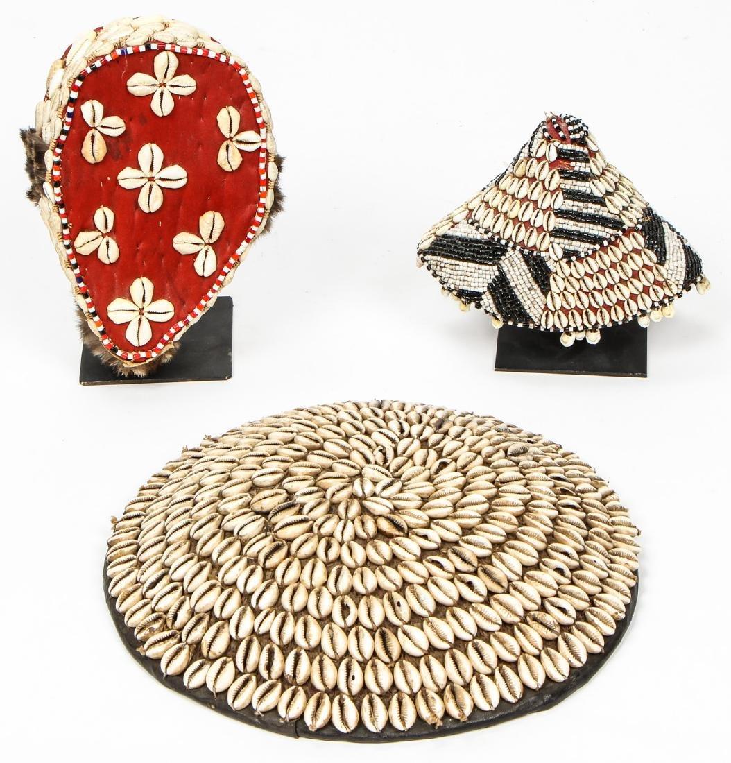 3  Kuba Ceremonial Prestige Hats/Headpieces