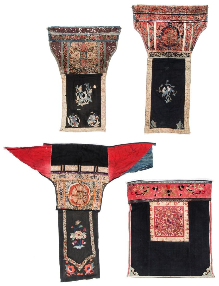 4 South China Embroidered Dresses, Early 20th C